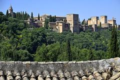 Granada. La Alhambra desde el camino del Sacromonte (Alfonso Suárez) Tags: alfonsosuárez alfonsosuárezlagares alhambra sacromonte torre cielo azul verde bosque tejas tejado andalucia españa spain palacio