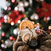 Closeup of lemon muffin with Christmas tree background in vintage style