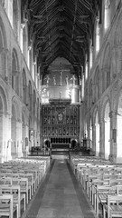 Wymondham Abbey. (Atlas Aerial and Land Photography) Tags: wymondham abbey norfolk chairs pews christ cross jesus monochromatic mono blackandwhite black
