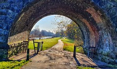 Sankey Valley Park, Warrington, England (mike wire) Tags: park path canal water autumn bridge railway arch