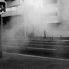 In smoke (pascalcolin1) Tags: paris13 homme man fumée smoke mur wall carré square photoderue streetview urbanarte noiretblanc blackandwhite photopascalcolin 50mm canon50mm canon