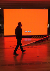just in time (Jim_ATL) Tags: art installation virgilabloh figuresofspeech orange neon screen text museum silhouette atlanta