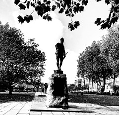 Queen's Gardens, Warrington, England (mike wire) Tags: bw park military remembrance trees autumn statue monument