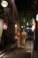 Silk light (karinavera) Tags: city night photography urban ilcea7m2 sunset japan street light kyoto silk people