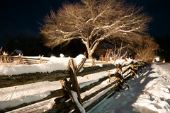 old farm fence line (Wil James) Tags: sonyilca99m2 zeiss2470 farm water snow nighttime tree fence fenceline ontario outdoor canada kawarthalakesphotographer