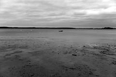 Strelasund, Boot (tom-schulz) Tags: x100f monochrom bw sw rawtherapee gimp stralsund thomasschulz ufer sund strelasund strand wasser ebbe boot rügen himmel wolken