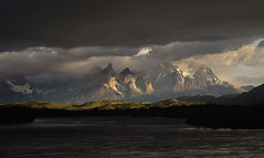 Chile - Patagonia - Torres del Paine (Harshil.Shah) Tags: chile patagonia torres del paine torresdelpaine national park parque nacional andes south america southamerica latinamerica mountains landscape nature morning sunrise cloud storm dark light water lake lago torresdelpainenationalpark parquenacionaltorresdelpaine chileanpatagonia regióndemagallanesydelaantárticachilena magallanes ultimaesperanza peak granite range massif mountain serrano cuernosdelpaine
