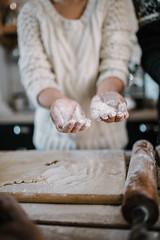 Closeup of female hand. hands in flour (shixart1985) Tags: baker bakery baking bread caucasian chef closeup cook cooking creative crumple cuisine domestic dough dumpling female flour food gresh handmade hands happy healthy home indoors kitchen preparation process sweater vintage white woman wooden work