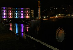 Sheffield Canal Basin At Night (Derbyshire Harrier) Tags: sheffield canal 2019 longexposure barge reflections colourful southyorkshire sheffieldcanalbasin thesheffieldtinsleycanal december winter