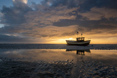 Clouds at Sunrise. (daveknight1946) Tags: essex shoeburyness eastbeach boat libertybelle sunrise clouds river riverthames