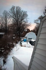 Sunset From The Loft (☼☼ Jo Zimny Photos☼☼) Tags: fromtheloft abovethegarage thebackyard sunset barn roof trees snow throughthewindow