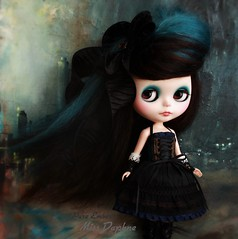 Miss D in the cityscape 🌹 (pure_embers) Tags: pure embers blythe doll dolls laura england uk custom gbaby miss daphne missdaphne missd takara neo hair black teal mohair reroot girl photography beautiful portrait cityscape fullset painting