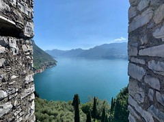 Through the castle walls... (Alessandro Messora) Tags: como lake landscape landscapes varenna vezio castle wall tower water italy tree hill mountains mountain lombardy