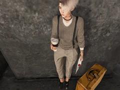 _the_wait_un_ (Tympany) Tags: shisposes suitcase magazine deetalez avatar secondlife sl tattoo locktuft obscur azoury rkkn michan genus bento fitmesh mesh coffee cx claws staydown classica tattoos nar narmattaru summer european sweater pants suspenders