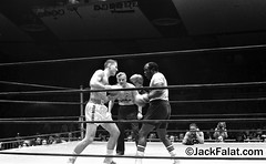NYC, NY.  Dan Farrell New York Daily News Photographer working the ring at Madison Square Garden. Professional boxer Emile Alphonse Griffith and Banker Wilbur Cone battle it out for The (Wall) Street Can't be Beat 1977 benefit (Jack Falat) Tags: show news sex shop theater manhattan porno midtown peep wabc life street new york city girls movie square theatre working massage times 1970s whores prostitutes walkers pallor nyc ny cold mill water monochrome st bar restaurant play broadway row tavern gin playhouse tenement 42th musician cinema sign musicians poster jack neon village parking lot billboard ave com performers 8thavenue falat b beach strand island c south w grand carolina myrtle litchfield jackfalat