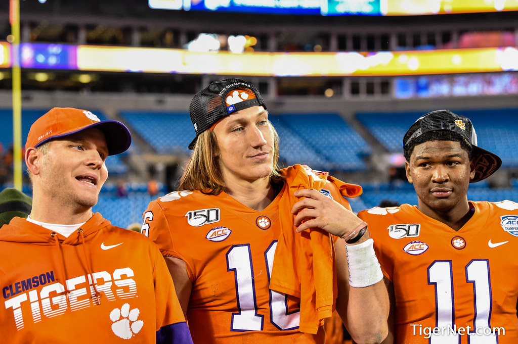 Clemson Photos: Brandon  Streeter, Taisun  Phommachanh, Trevor  Lawrence, 2019, Football, Virginia