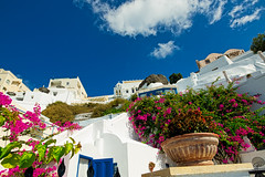 Santorini sky view (Bela Bodo) Tags: santorini white flower volcano blue sky weather holidays experience relaxation original extra