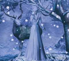 Winter Dreams (Hildda.Deveaue) Tags: secondlife christmas holidays winter snow deer queen dreams pose model whitedress whitehair