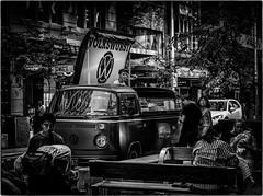 Volkswurst (Peter Polder) Tags: australia alley bw buildings city cityscape cityview people cityscapes monochrome mono road restaurant sydney street town urban z