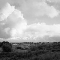 Clouds Over Silicon Valley (Tim Roper) Tags: landscape mamiya6 stanford film hc110 hp5 dish hills california clouds blackandwhite ilford 120 medium format