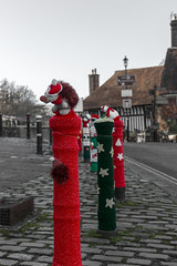 Knitted Christmas Decorations (Crisp-13) Tags: battle east sussex knit knitted knitting christmas xmas decorations 1066 hedgehog abbey bollard