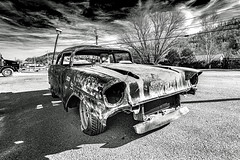 57 Chevy_BW (Bob G. Bell) Tags: chevy 1957 belair rust demolitionderby car bobbell nikon d800