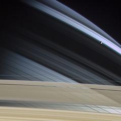 Mimas in front of Saturn on Nov. 7, 2004 (Lights In The Dark) Tags: saturn cassini nasa moon planet solarsystem mimas