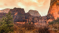 Angels Landing from below (pboolkah) Tags: red canon canon5d canon5dmkiv landscape nature zion springdale utah unitedstatesofamerica rocks mountain clouds trees zionnationalpark