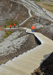 And Back Down Again (Sotosoroto) Tags: iceland vesturland borgarbyggð grábrók dayhike hiking volcano stairs crater