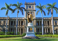 King Kamehameha Statue (ashockenberry) Tags: travel tourism tropical trees reserve exotic beautiful beauty statue building clock tower majestic landscape light city honolulu hawaii oahu king kamehameha urban historic native