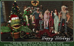 Happy Forkin Holidays (TheIrishDevil) Tags: sl slphotography secondlife secondlifephotography holidays christmas festivus silly friends audreyii groupphoto yule windlight firestorm