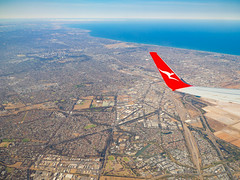 Adelaide from the Air (Anthony Kernich Photo) Tags: adelaide southaustralia sa australia city cityscape urban air qantas view above windowseat aerial plane travel flight olympusem10 olympus olympusomd lumix landscape aeroplane wing window altitude transport
