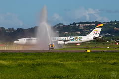 Water Salute (Willem GRANNAVEL) Tags: a340 air belgium first commercial flight special livery martinique guadeloupe french west indies water salute