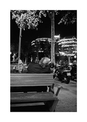 Street Slumber_Barcelona (Koprek) Tags: barcelona film analog 135mm konicahexaraf streetphotography stphotographia stphotography street nightlight night nightwalk lowlight kodaktrix 400 spain october 2019