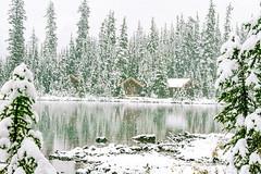 Winter Wonderland (Thru My Shutter) Tags: winterwonderland heavy woodencabins lake snow
