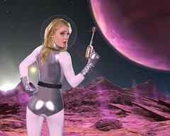 Raypunk Pinup on Purple World A (jim.choate59) Tags: jchoate on1pics cosplay raypunk pinup raygun alienword retro scifi exoplanet woman astronaut fantasy gemini model hss greenscreen