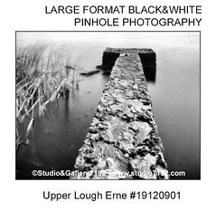 Upper Lough Erne - This black and white camera obscura photo is NOT sharp due to camera characteristic. Taken with a professional pinhole cameraFomapan 100 - 12 sec. - Developer: Rodinal 1+50 9 Min., Fixer: Adofix Plus 1+9 6 Min., with a professional pinh (jbeugephoto) Tags: upper jetty lough erne ireland northernireland fermanagh enniskillen landmark famous water structure landscape attraction construction white photography pinhole photo black vintage retro photographic analog image nobody obscura oldfashioned pinholecamera foma fomapan developer rodinal fixer adofix lerouge45 lerouge54 large format