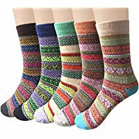 5-6 Pairs Womens Wool Socks Cold Weather Vintage Soft Warm Socks Thick Knit Cozy Winter Socks for Women (bestdealsforeverybody) Tags: 56 pairs womens wool socks cold weather vintage soft warm thick knit cozy winter for women