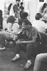 here, but I'm gone. (_vol.1) Tags: subway train station mta nyc new york tube drinking alcohol liquor alcoholic stress stressed troubles problems life street photographer bnw black white people air max sharp vol1 brooklyn