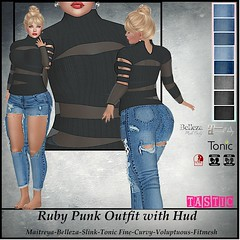 Tastic-Ruby Punk Outfit with Hud (Spanky SL *Owner of Tastic store*) Tags: tastic sweater jeans pants torn ripped punk sheer black denim blue store truth hair outfit maitreya belleza slink tonic fitmesh sl secondlife photo picture vendor firestorm flickr mesh catwa