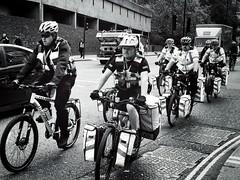 St John's Cyclists (garryknight) Tags: london on1photoraw iphone mono monochrome blackwhite themonoseries stjohnsambulance cycle bike bicycle cyclist
