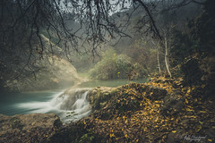 In deepest autumn (Through_Urizen) Tags: category flora landscape longexposure places turkey waterfall canon90d canon sigma1020mm fallingwater cascade forest rocks leaves autumn autumncolours whitewater fog mist steam thermalspring trees woodland crag nature naturephotography landscapephotography