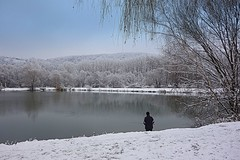 winter fishing (majka44) Tags: winter snow white people lake water reflection 2019 day light košice slovakia tree forest fisherman fishing nature atmosphere mood nice landscape december view sky river cold