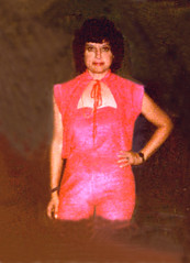 Christmas outfit wade, 1979 (clarkfred33) Tags: water wade swamp nighttime silk pantssuit pink illustration concept 1979 wet wetlook adventure wetadventure wetwoman wetsilk christmas holiday