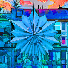 Lisa's christmas star (j.p.yef) Tags: peterfey jpyef yef xmas christmas window star paperstar digitalart square photomanipulation blue iphone lisa houses street germany hamburg weihnachten weihnachtsstern