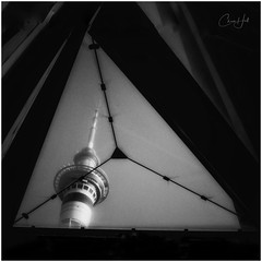 Skylight View (cjhall.nz) Tags: monochrome bw bnw blackandwhite creative morning newzealand framedinnz 35mm x100f fujifilm framed perspective auckland triangle skylight photography street federalst skycity city skytower tower sky