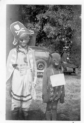 VINTAGE . CHILDREN UNUSUAL OUTFITS (JOHN MORGANs OLD PHOTOS.) Tags: vintage found photo child children bw black british and white uk unusual unitedkingdom unknown unique interesting different old photos people fancy dress pirate motor bike car