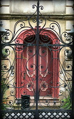 Gate: 8 Legare Street, Charleston, SC (Spencer Means) Tags: architecture charleston sc 8 legare street wall gate iron wrought door doorway entrance red southcarolina