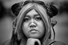 perfect (gro57074@bigpond.net.au) Tags: portrait bw woman monochrome mono blackwhite costume nikon cosplay sydney posed sigma monotone monochromatic darlingharbour artseries d850 japanesematsuri 105mmf14 december2019 guyclift f22 perfect serious