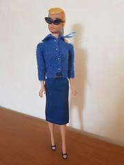 "Swirl ponytail Girl 60's in 1963 ""Knitting Pretty"" #957 #984 (kowak88) Tags: vintage swirl ponytail barbie american airlines stewardess sheath skirt 984 19611964 knittingpretty 957 sweater golden belt jordache outfit blue opentoe heels repro 60s sunglasses mattel"